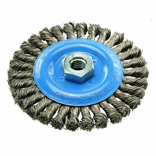 Walter 13L464 Knot Twisted Wire Wheel Brush, Threaded Hole, Stainless Steel 304, 4-1/2 Diameter, 0.020 Wire Diameter, 5/8-11 Arbor, 15500 Maximum RPM by Walter Surface Technologies - Twisted Knot Brush