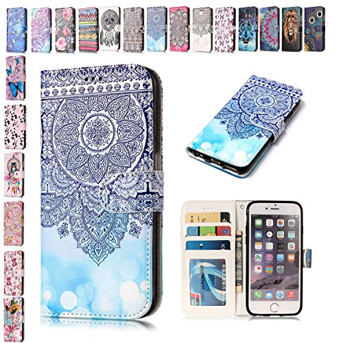 E-Mandala kompatibel mit iPod Touch 5 6 Hülle Leder Flip Case Wallet Tasche handyhüllen Silikon Schutzhülle Lederhülle mit Kartenfach Handytasche - Blau Mandala (Ipod-taschen Eule)