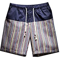 Fulok Men's Stripe Splice Drawstring Soft Thin Beach Boardshorts Small Yellow