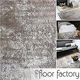 floor factory Moderner Teppich Delight Silber grau 160x230cm - Edler Designer Teppich mit flauschig weichem Flor