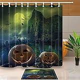 Halloween-Dekor-Friedhofs-Kürbise kreuzen seitliches Schloss am Mond 70.8X70.8in Mehltau-beständiger Polyester-Gewebe-Duschvorhang-Anzug mit 15.7x23.6in Flanell-rutschfesten Boden-Fußmatte-Bad-Wolldecken