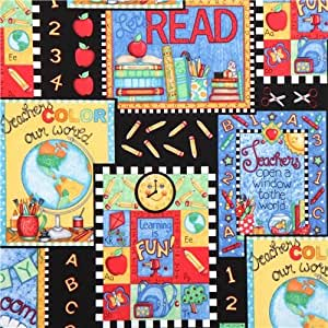 Tissu Learning is Fun Quilting Treasures noir, motif tableau, école