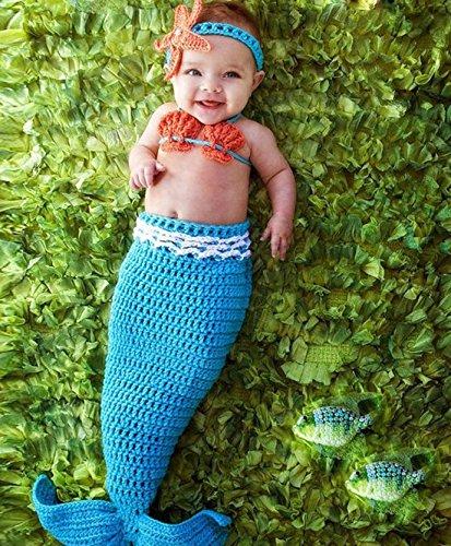Jastore® Infant baby süß Meerjungfrau Kostüm Fotografie Hut Set Handarbeit Häkelarbeit (Neugeborenen Meerjungfrau Kostüm)