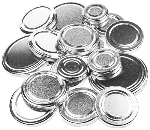 21 Ersatzdeckel silber, Deckel Schraubdeckel Twist-Off-Verschluss für Marmeladengläser Einmachgläser Sturzgläser (Twist-verschluss)
