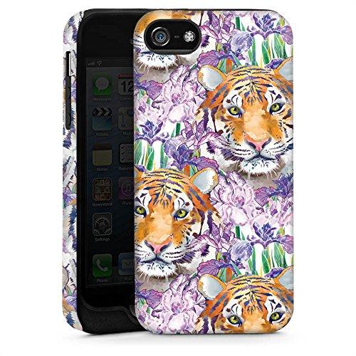 Apple iPhone 5s Housse Étui Protection Coque Tigre Chat Motif Cas Tough brillant