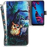 CLM-Tech kompatibel mit Huawei P20 Hülle, Tasche aus Kunstleder, 2 Eulen Baum Nacht Mehrfarbig, PU Leder-Tasche für Huawei P20 Lederhülle
