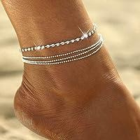 Zoestar, Cavigliera in argento a più fili con diamanti sintetici e perline rotonde, per donne e ragazze