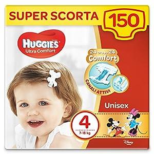 HUGGIES Pannolini Ultra Comfort, Taglia 4 (7-18 Kg), Confezione da 150 Pannolini 18 spesavip