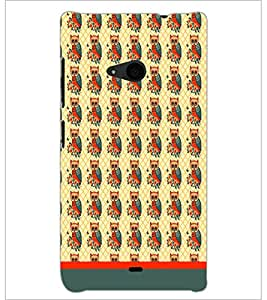 PrintDhaba Owl Pattern D-1652 Back Case Cover for MICROSOFT LUMIA 535 (Multi-Coloured)