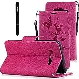 Slynmax Schutzhülle Kompatibel mit Samsung Galaxy Grand Prime Plus/J2 Prime PU Leder Tasche Flip Case Wallet Etui Blumen Brieftasche Lederhülle Lanyard Bookstyle Handyhülle Stand Karte,Rosa