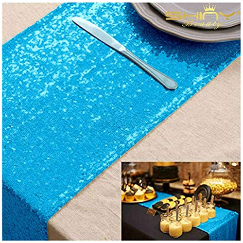 ShinyBeauty Pailletten Tabelle Läufer Blau-12x72Inch Pailletten-Tischdecke Türkis-30cmx180cm
