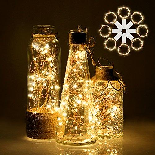 Lichterkette | LED Lichterkette mit Batterie | infinitoo 2m 20er Kupferdraht Lichterkette 4er-Pack | Batteriebetrieben Warmweiß Lichterkette für Zimmer, Innenbeleuchtung, Weihnachten und Haus Deko