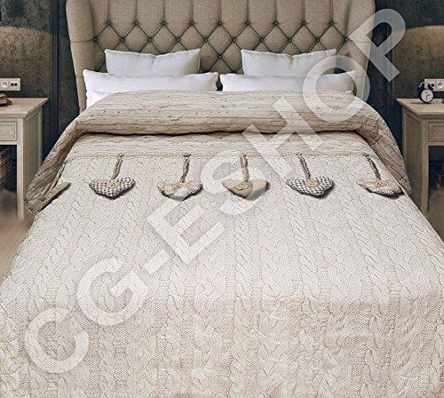 Confezioni giuliana copriletto cotone primaverile 2 piazze matrimoniale cuori appesi primavera (beige)