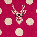 echino canvas fabric Buck stag with glasses pink