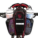 LJ deporte carretera bicicleta de montaña bicicleta sillín Bolsa con bolsillo para doble botella de agua, reflectante, cierre de velcro alforja bicicleta marco bolsa, Black+Red