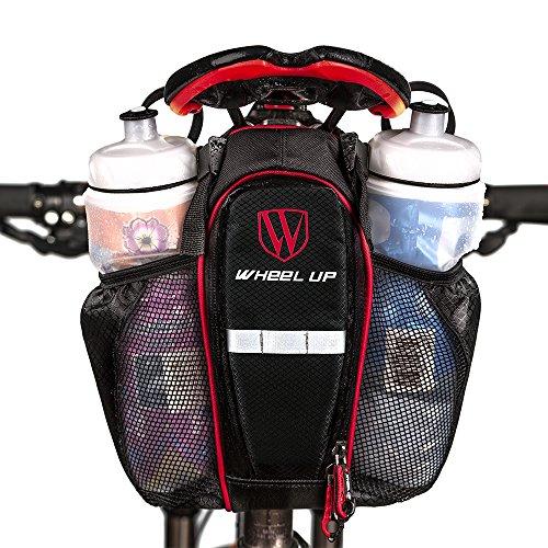 extrbici Fahrrad Satteltasche Strap Bag Wasserdichte Mountain Road Bike Rückseite Sitz Tasche zwei Wasser Flasche Taschen Große Kapazität für Reparatur Werkzeug zusammenklappbar Bike Zubehör Supplies schwarz / rot