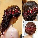 LOHOME(TM) Ladies Pretty Red Rhinestone Handmade Headdress Bridal Wedding Flower Pearls Headband Hair Clip Comb