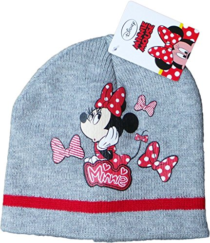 Disney Minnie Maus Wintermütze - Punkte für Minnie - Grau/Rot/Mehrfarbig - Minnie Maus (Minnie Disney Mütze)