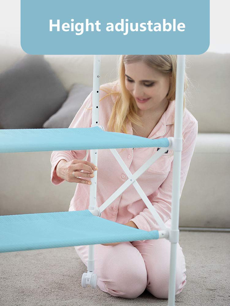 Baby Changing Table Foldable Bathing Station with Pad, Newborn Care Station Table Height Adjustable for Infant- Blue GUYUE Two in one design- Baby changing table can be used as baby massaging table as well or dry your baby's small clothes, also can bathing. Iron tube paint + plastic + polyester mesh. Size- As shown, 85x50x100~130cm Folding size- 85x24x112.5~132.5cm (1cm=0.39 inch) Suitable for babies 0~2 years old. 6
