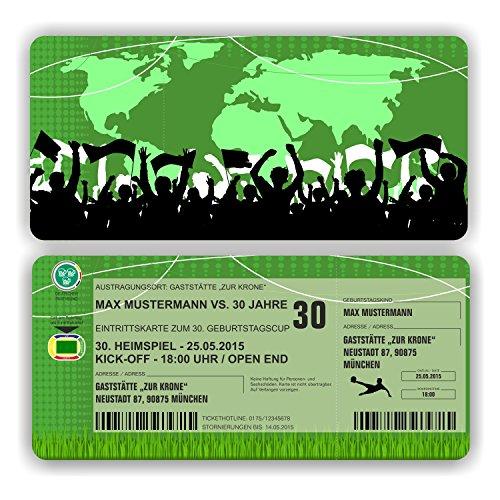 Einladungskarte Geburtstag Fussball Ticket Eintrittskarte mit Perforation (80 Stück)