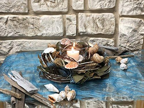 Tidschdeko Tischdekoration Nr.42b Tischgesteck elegant, Gesteck mediterran Muscheln mit Teelicht und Kranz creme Sommer moderne Tischdeko Sommerdeko Sand (Mediterrane-kranz)