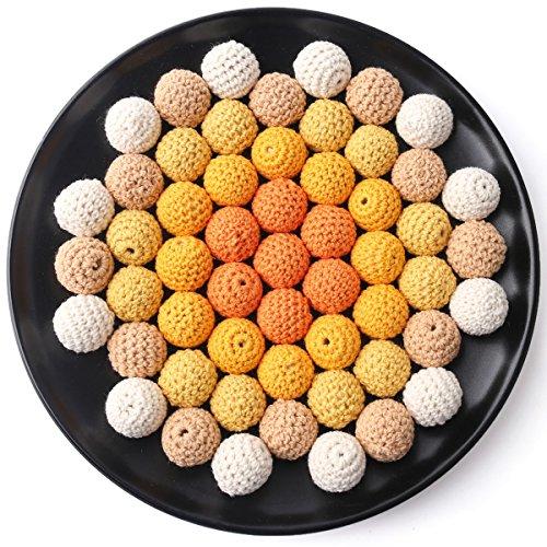 baby tete Perles en Bois Perles Rondes au Crochet 20mm/50pcs Collier/Bricolage Jouets de Dentition Bbébé Série Jaune
