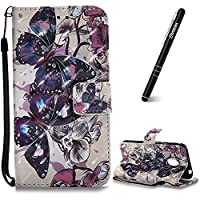 Moto G4 Play Case, Motorola Moto G4 Play Leather Case, Slynmax 3D Printing Black Butterfly Design Flip Folio PU Leather Wallet Case Inner Soft TPU Cover with Stand Function Hand Strap Card Holders Magnetic Closure Ultra Thin Book Style Shock Resistant Pro