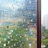 Rabbitgoo® Static Window Film for Glass Privacy Film Non Adhesive Window Film Decorative 90CM x200CM, 3D Pebble Pattern for Home Kitchen Office
