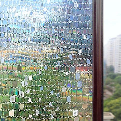 Rabbitgoo 3D statisch haftend Fensterfolie Dekofolie Sichtschutzfolie Fensterschutzfolie Selbsthaftend Anti-UV 90cm*200cm
