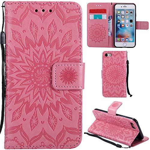 Ooboom® iPhone 5SE Hülle Sonnenblume Muster Flip PU Leder Schutzhülle Handy Tasche Case Cover Stand mit Kartenfach für iPhone 5SE - Rose Gold Rosa