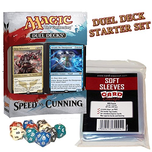 Magic the Gathering - SPEED VS. CUNNING Duel Deck Starter Set (Duel Deck + 200 Hüllen + MtG Würfel) [EN] (Starter Pack Magic The Gathering)