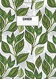 Cahier: de 120 pages à grands carreaux format A4 type Seyès avec motif feuilles de thé Vert pour les amateurs de plantes, nature et du Japon