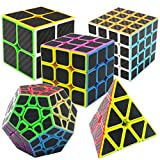 Puzzle Cubes Megaminx + Pyraminx + 2x2x2 + 3x3x3 + 4x4x4 5 Pack in Giftbox Coolzon Cubo Magico con Pegatina de Fibra de Carbono Velocidad