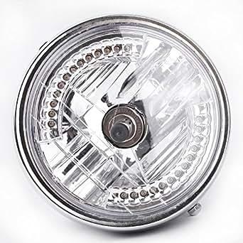 kkmoon 8 halo lampe de moto phare led clignotant avec ampoule h4 pour harley. Black Bedroom Furniture Sets. Home Design Ideas