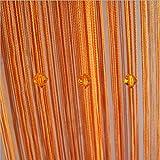 Vidillo Fadenvorhang, Fadenvorhang perlenvorhang, 100 x 200 cm Wandvorhang Schaufensterdekoration Mehrfarbig (Rosa,Rot,Grüner,Champagner) für hochzeit balkontür (Orange)