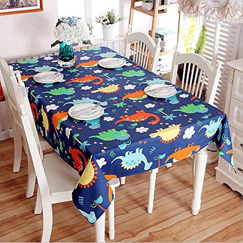 Dinosaurio de dibujos animados puro algodón espeso Mantel Mantel Hotel Mantel Infantil Decoración de la habitación de tela cabecera cubierta toalla , blue , 90*140cm