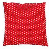 Sugarapple Kinder Kissenbezug 50cm x 50cm mit Reißverschluss, Kissen Bezug aus 100% Öko-Tex Standard 100 Baumwolle, ideal als Bezug für Dekokissen, Sitzkissen oder Kopfkissen, rot mit weißen Sternen