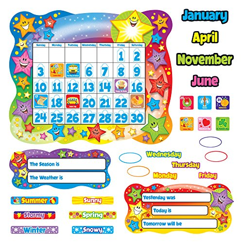 Star Calendar Bulletin Board Set, Stars, 31 1/2 x 26, Sold as 1 Set