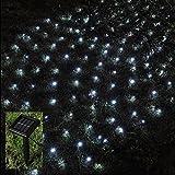 Lichternetz, 105LEDs, Lichternetz, LED, für den Außenbereich, Solarbetrieben, Weiß, Garten-Lichterkette