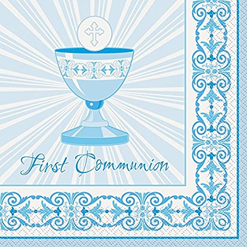 Radiant Cross Blue First Communion Napkins, Pack of 16