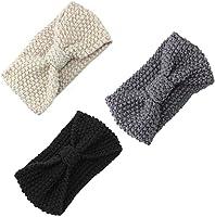 Tmaza Damen Gestrickt Stirnband Häkelarbeit Schleife Design Winter Kopfband Haarband