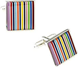 The Jewelbox® Stripes 3D Multicolor Office Formal Wedding Shirt Blazer Cufflink Pair Men Branded Gift Box