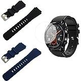 SourceTon - Correas de silicona de repuesto con hebilla de metal y protectores de pantalla para Huawei Watch GT/Watch GT2. Co