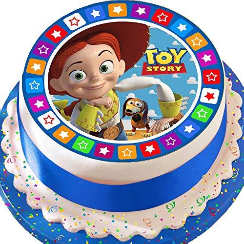Cannellio Cakes vorgeschnittenen Essbarer Zuckerguss großen Kuchen Topper-19,1cm rund Toy Story Jessie mit Star Bordüre (Toy Story Cake Topper)