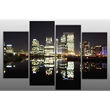 RED BLACK WHITE GREY ABSTRACT CANVAS WALL ART 4 PANEL SPLIT PICTURE 148cm wide