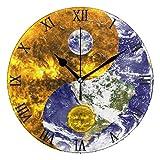 Ahomy Ying Yang Horloge Murale avec Chiffres 24 cm Ronde silencieuse Fonctionne à Piles Facile à Lire pour la Maison Bureau école