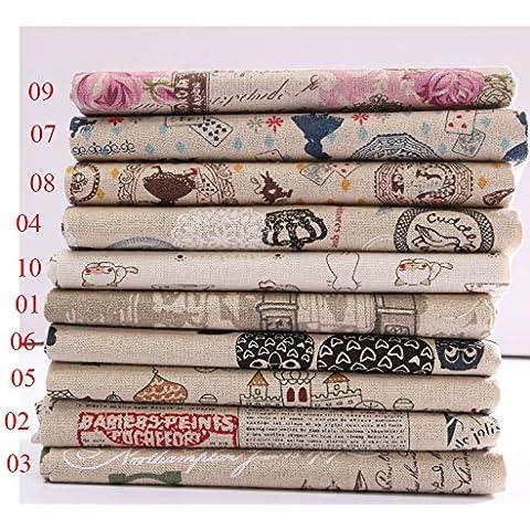 Dibujos animados patr—n de algod—n de lino de la tela del remiendo para la tabla de bricolaje de cama