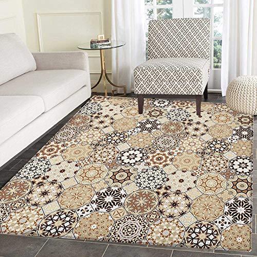 Yaoni Eastern Area Teppich Teppich Achteckige und eckige Ornamente Retro Farbige Altmodische Fliese Passen Sie die Fußmatten für das Haus an