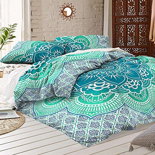 Sophia Art verde Lotus Mandala manta de cama de funda de edredón colcha de flores Indian Star diseño Floral de Mandala flores doona conjuntos de dormitorio Decor con 2funda de almohada cubre