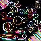 Herefun 100 Knicklichter Party Set, Armbänder Ketten Set für Brillen Dreifach Armbänder, mit 154 Verbindungen, 7-Farb-Mix Spielwaren Party Zubehör Mitgebsel Kindergeburtstag Gastgeschenke für Kinder